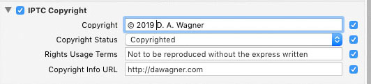 Create Copyright Preset